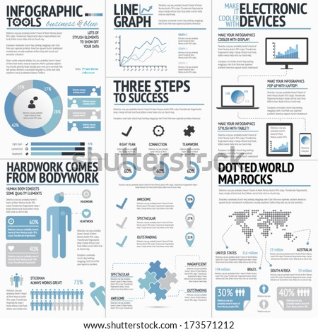 Big set of infographic elements blue business colors vector EPS10 - stock vector