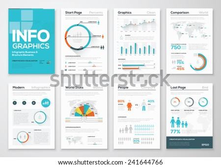 Big set of infographics elements in modern flat business style. Vector illustrations of modern info graphics. Use in website, flyer, corporate report, presentation, advertising, marketing etc. - stock vector