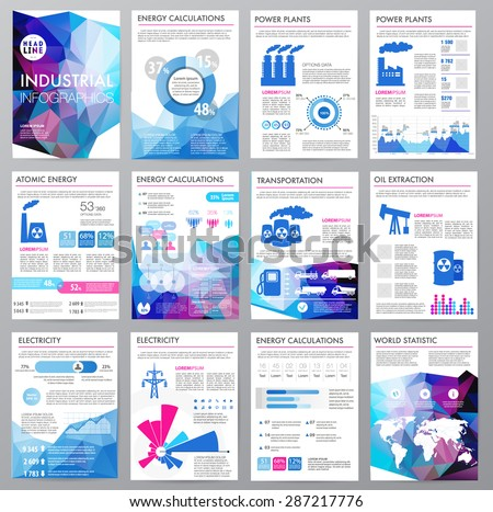 Big set of infographics elements, industrial infographics and Information Graphics. Easy to edit map. Polygonal style. Use in website, flyer, corporate report, presentation, advertising, marketing. A4 - stock vector