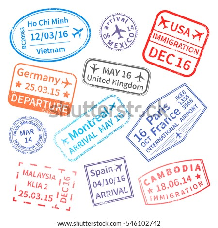 Big set of  International travel visa stamps isolated on white. Arrivals sign rubber stamps.
