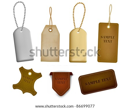 Big set of leather labels and tags. Vector illustration - stock vector