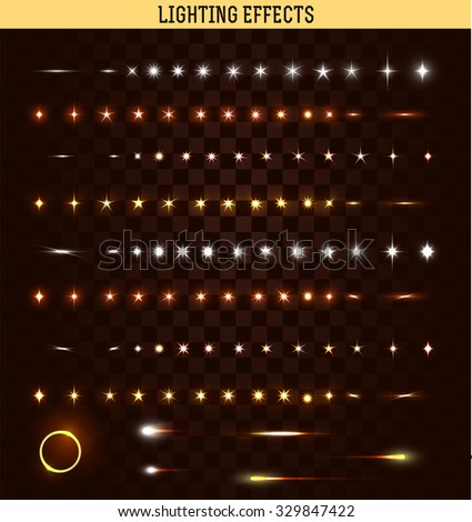 Big set of lighting isolated effect. Magic, bright, brilliant patches of light. Shining star. Effect for background and design. Light patches of light. Bright stars. Set of effects. Realistic effect - stock vector