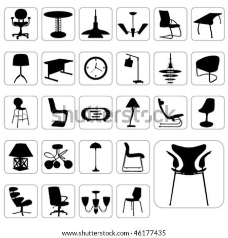 big set of modern furniture vector - stock vector