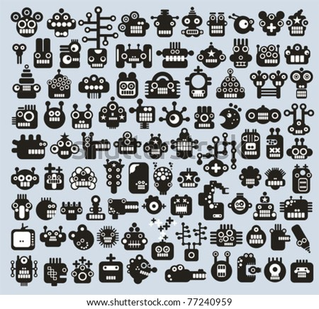 Big set of monsters and robots faces. Vector illustration. - stock vector