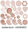 big set of paisley and mehndi designs - stock vector