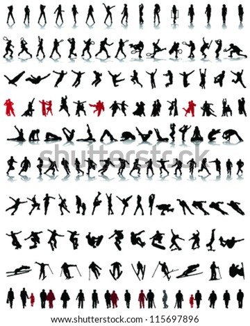 Big set of people silhouettes, vector