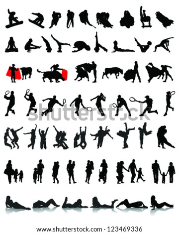 Big set of people silhouettes 3, vector