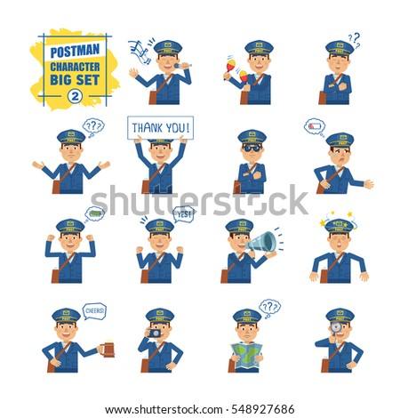 Big set of postman emoticons showing different actions, gestures, emotions. Cheerful mailman singing, sleeping, holding banner, loudspeaker, map and doing other actions. Simple vector illustration