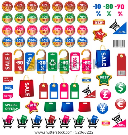 BIG SET OF PRICE TAGS AND STICKERS - stock vector