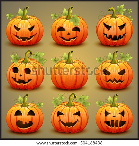 Big set of pumpkins for Halloween. Vector illustration