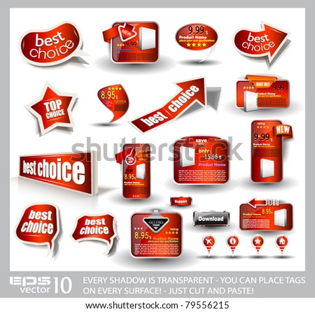 Big set of red style sale and advertisement arrows, bubble speech elements, stickers, web panels, promotional label and pins. All shadows are transparent and ready to be placed on every surface. - stock vector