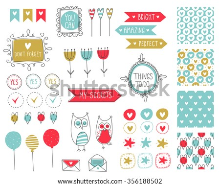 Big set of romantic and cute vector elements for cards and stickers. Love theme design. For wedding, anniversary, birthday, Valentine's day, party invitations, scrapbooking. Vector illustration. - stock vector