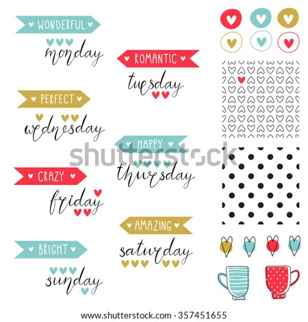 Big Set Of Romantic Vector Elements For Cards And Stickers Love Theme Design