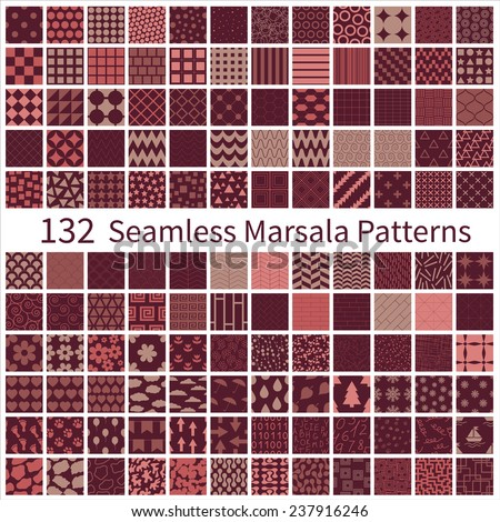 Big set of seamless geometric, polka dot, floral, decorative patterns with Marsala trendy colors. Vector illustration EPS8 - stock vector