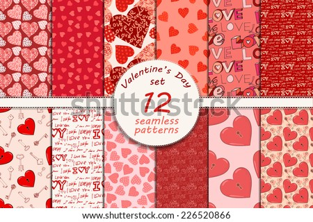 big set of seamless valentine's day patterns, eps 10 - stock vector