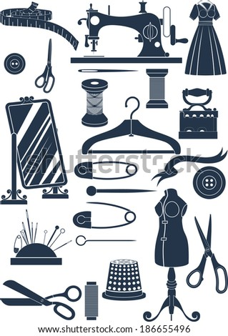 Big set of sewing accessories. Simple shapes to cut or icons - stock vector