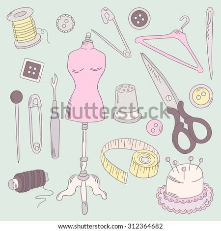 Big set of sewing tools icons. Hand drawn icon collection, profession clothier. Vector background with sketch objects. Decorative doodle elements. Colorful illustration with tailoring tools design