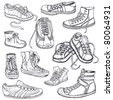 Big set of sneakers for men, women,teenagers and children - stock vector