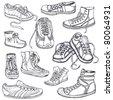 Big set of sneakers for men, women,teenagers and children - stock photo