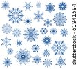Big set of snowflake shapes isolated on white background. - stock photo