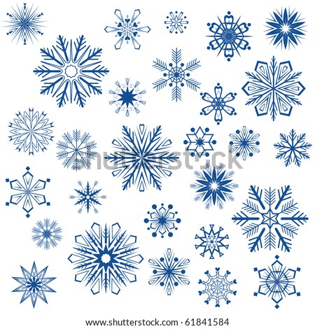 Big set of snowflake shapes isolated on white background. - stock vector