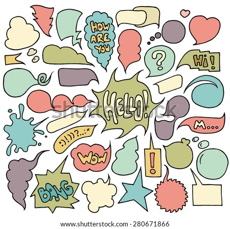 Big set of  speech and think colored bubbles on white background. Doodle cartoon comic bubbles isolated on white. Hand-drawn vector  organized in groups for easy editing. - stock vector