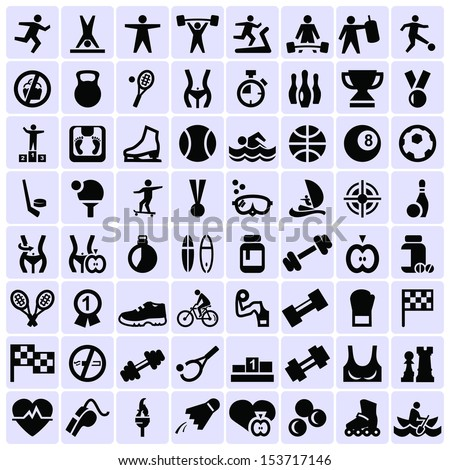 Big set of sport icons - stock vector