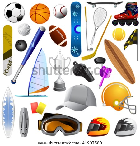 big set of sport objects - stock vector