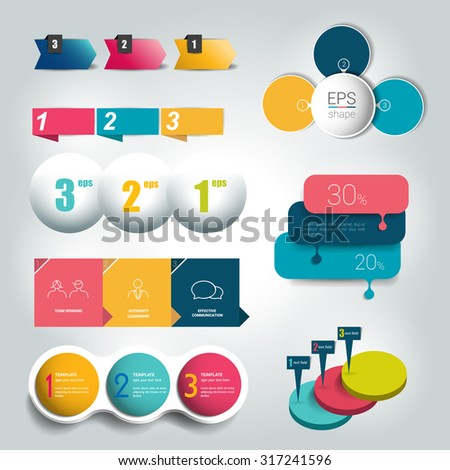Big set of  3 steps round diagram, graph, chart, flowchart, banner template. Vector. - stock vector