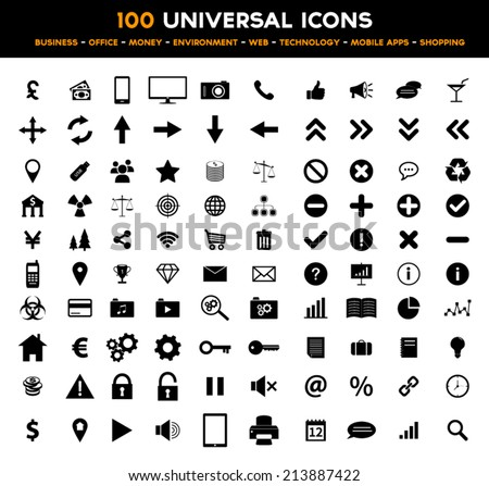 Big set of universal black flat icons - business, office, finance, environment and technology - stock vector