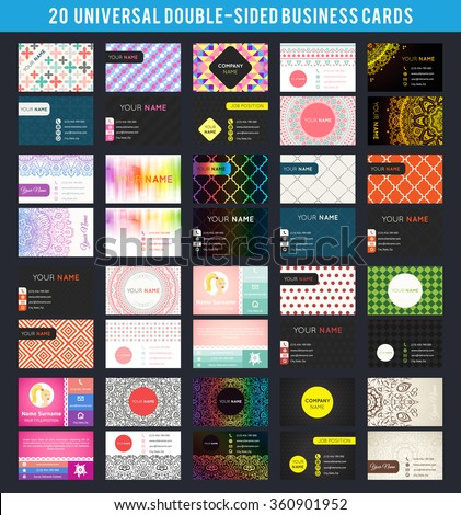 Big set of universal double-sided business card templates. Vector illustration for modern design. Different topic styles. Premium card collection. With patterns, ornaments, abstract backgrounds. - stock vector