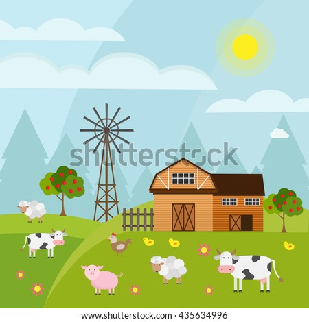 Big set of vector background farm elements and animals.