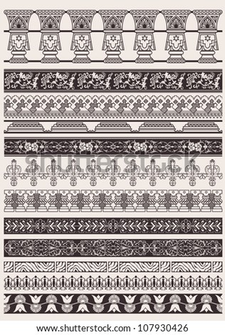 Big Set Of Vector Decorative Border Lines - stock vector