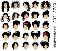 Big set of vector hair styling 2 - stock vector