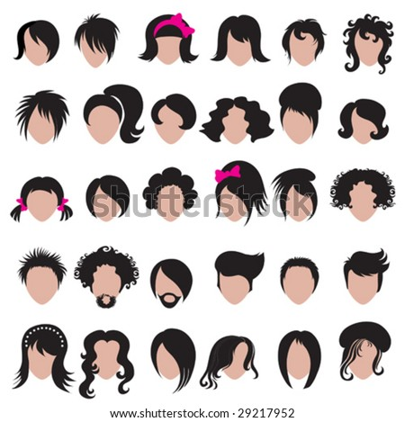 Big set of vector hair styling - stock vector