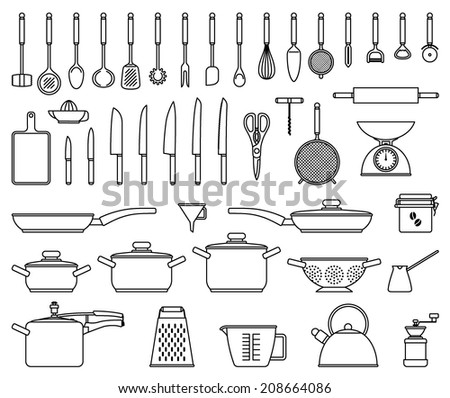 Big set of vector isolated kitchen tools and utensil - stock vector