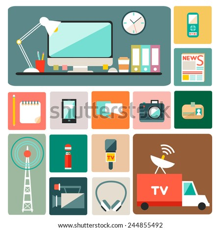 Big set of vector journalism icons. Modern flat design style. Isolated symbols of media including recorder, newspaper, camera, accreditation, pencil, mobile, microphone and notebook.  - stock vector