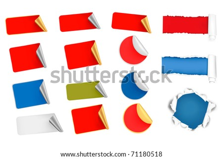 Big set of vector tags, labels and ripped papers. - stock vector