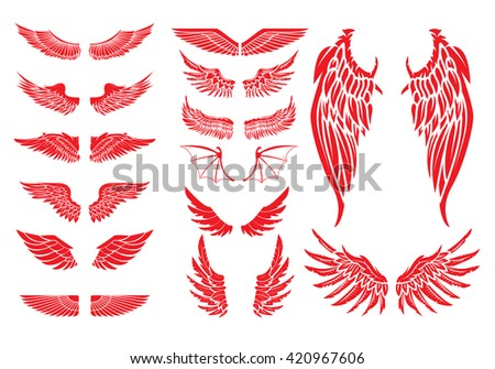 Big set of vector wings isolated on white background.  - stock vector