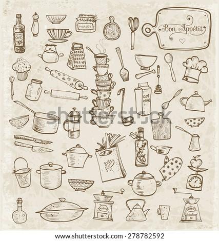 Big Set Of Vintage Kitchen Utensils Hand Drawn With Ink. Vector  Illustration.