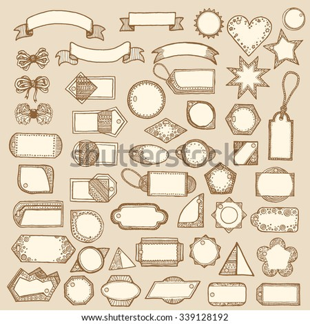 Big set of vintage vector tags, frames, labels, ribbons, ropes. Fully editable mega sale retro set. Hand drawn, pen and ink. Design element for flyer, banner, advertisement, promotion - stock vector