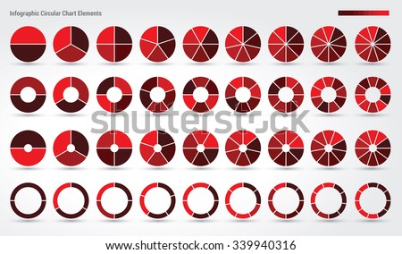 Big set, of wheel diagrams with 2, 3, 4, 5, 6, 7, 8, 9 and 10 sides - stock vector