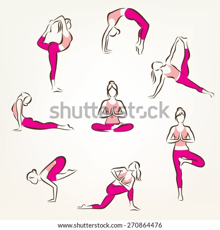 big set of yoga and pilates poses symbols, stylized vector symbols, health care and fitness concept - stock vector