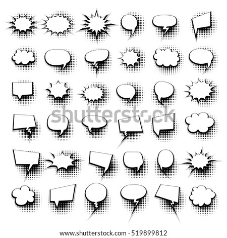 Big Set Picture Blank Template Comic Stock Vector 519899812