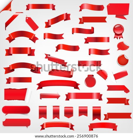 Big Set Ribbons And Labels With Gradient Mesh, Vector Illustration - stock vector