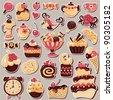 Big set scrapbook sweets, ornaments and holiday symbols - stock vector