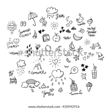 Big set summer doodle icon and design elements.Summer time