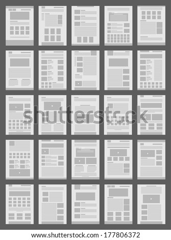 big set template web page. vector in flat design - stock vector