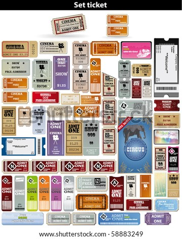 big set: tickets in different styles. Vector. - stock vector