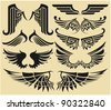Big set tribal wings - stock vector